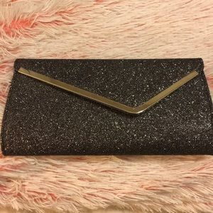 Handbags - GUNMETAL GRAY GLITTER EVENING CLUTCH
